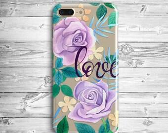 Violet Roses Love Case iPhone 7 Plus Case iPhone 6s Plus Silicone Case iPhone 7  6s iPhone SE Samsung Galaxy S5 S6 S7 Edge Transparent Case