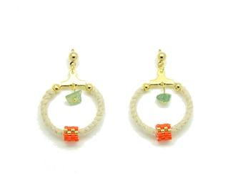 Tribal earrings, earrings studs, ethnic earrings, aventurine, ethnic earrings