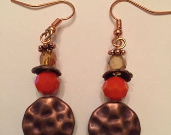 Coral beads and peach crystal copper dangle earrings