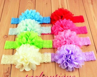 Stunning Large Chiffon and Lace Flower Headband, Baby Headband, Toddler Headband, Girls Headband, 16 Colors Available