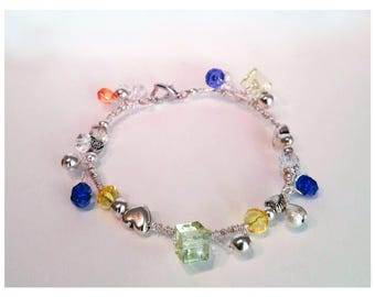 Silver bracelet with colored crystals
