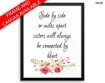 Sisters Wall Art Framed Sisters Canvas Print Sisters Framed Wall Art Sisters Poster Sisters Typography Art Sisters Typography Print Sisters