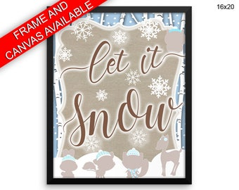 Let It Snow Printed  Poster Let It Snow Framed Let It Snow Winter Art Let It Snow Winter Print Let It Snow Canvas Let It Snow woodland snow