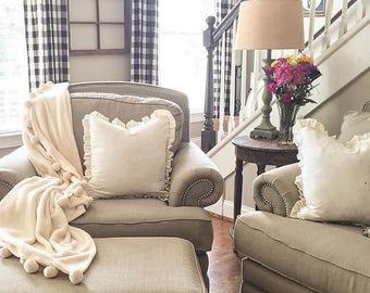 Cream Ruffle Linen Pillow Covers