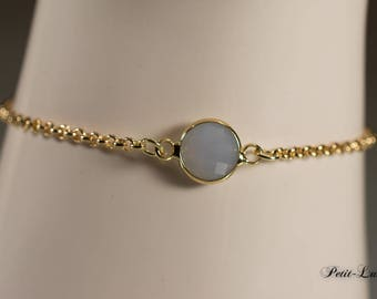 Faceted glass noble grey to gold-plated sterling