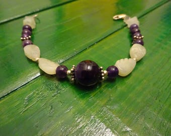Bracelet sterling silver amethyst and jade