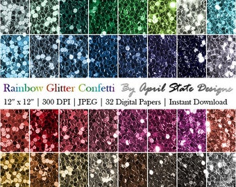 Rainbow Glitter Confetti Digital Paper: Printable Glitter Backgrounds, Glitter Paper Pack, Scrapbook Paper, Digital Instant Download