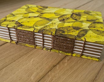 Decorative handmade journal- hand bound notebook, birch leaf photographic covers, coptic binding, original gift idea
