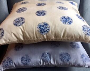 Avocado and Indigo Dyed Silk Pillow Cover