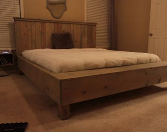 Rustic handcrafted platform bed with extended foot board bench