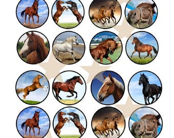 24 horses cake muffin CupCake Topper decoration eating-paper wafers muffin in placer edible paper cupcake toppers, wafer paper F2