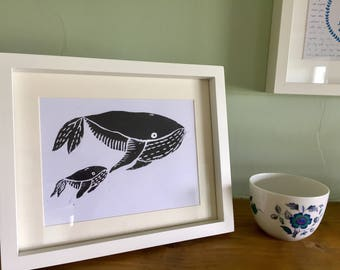 Whale Print, whale lino print, baby shower gift, bathroom decor
