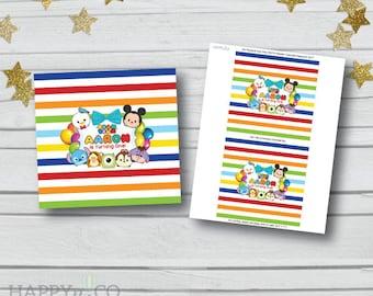 DIGITAL Tsum Tsum Candy Wrapper (1.55 oz Hershey Bar), Tsum Tsum Custom Chocolate Bar Wrapper, Tsum Tsum Party Printable