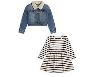 Girls Designer Clothing 2 piece Denim Jacket and Dress Outfit Set