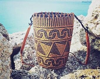Kubah hand woven backpack, hand woven beach basket,Rattan Backpack, Borneo backpack, ethnic bag