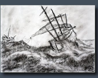 Sketch of a boat capsizing after the storm