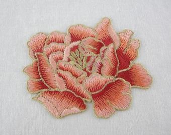 Orange/Gold Floral Applique, Embroidery Flowers
