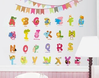 Alphabets Wall Decal for Kids Room, Boys Room, Girls Room, Modern Nursery Wall Decal, Children room art, Kids room decor