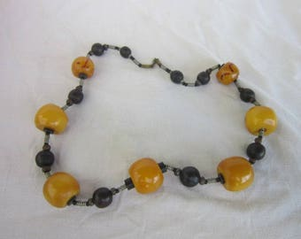 Antique Large Bakelite & Wood Beaded Necklace