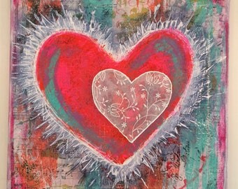 Hearts mixed media canvas using collage