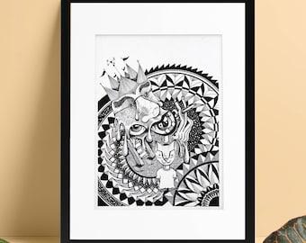 PRINT | Mandala Madness Man Pen Illustration | Art Work | Gift | Wall Art