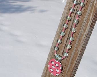 Peachy Pink and Green(glow in the dark) Beaded Necklace
