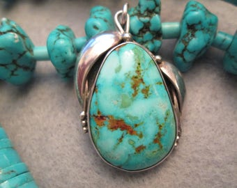 On SALE Now>>Exquisite Vivid Blue-Green Carico Lake Turquoise & Sterling Pendant> Navajo handcrafted> Signed> Excellent Condition