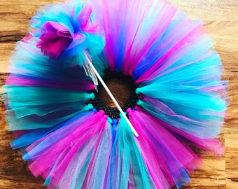 Pink teal and blue mermaid under the sea birthday tutu and matching tulle princess wand