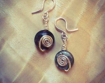 Muscovite & Sterling Silver Spiral Drop Earrings