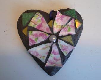 Small mosaic slate heart