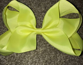 Neon yellow hair bow 8 inch