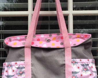 Nurse Tote RN pink and gray