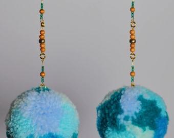 Breezy Blue Pom Pom Earrings