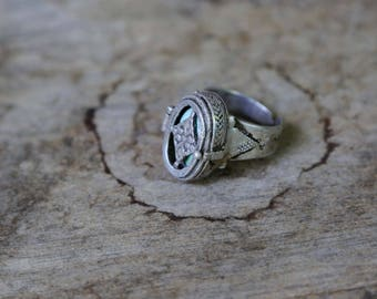 North African Locket Silver and Turquoise Ring