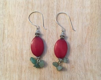 Red Bone Oval Earrings with Jade chips