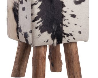 Coat stools made from cow skin / Bullhide square with wooden feet, black and white
