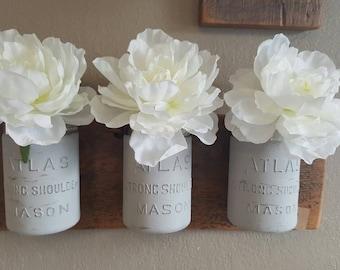 3 Mason Jar Flower Holder on Barnwood Wood.