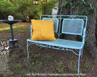 wrought iron mesh patio love seat bench with a shabby chic rustic cottage finish