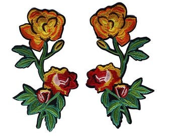 1pair Flower Pair Lace Embroidery Patches Applique Lace Motif Trimming Sew on Stickers Scrapbooking Sewing Accessories TH389