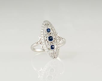 14K White Gold Vintage Style Sapphire and Diamond Ring Size 7