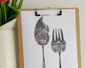 Cutlery - lino print, cutlery set, fish knife, fork, kitchen wall art