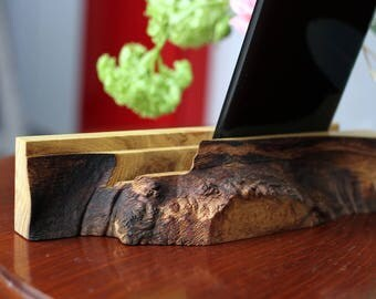 Wooden akacia burl stand for Smart Phones and Ipad