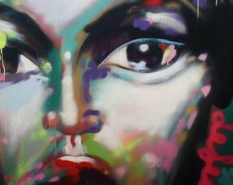 Sam, spray paint art, original artwork
