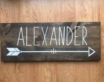 CUSTOM Name Wood Sign with Arrow