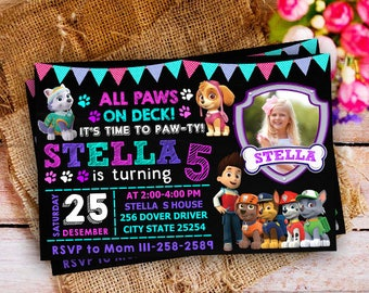 Paw Patrol Invitation Girl, Paw Patrol Invitation, Paw Patrol Birthday, Paw Patrol Birthday Invitation, Paw Patrol Birthday Party