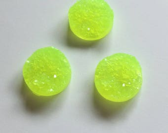 20/40 Lime Green Yellow Faux Druzy 12mm Round