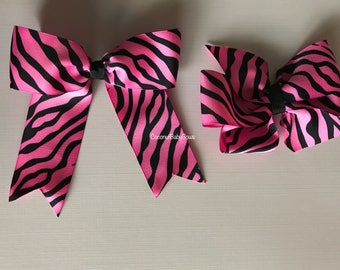 Hot Pink and Black Zebra Hair Bows