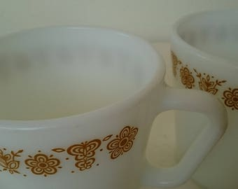 1970s Vintage Pyrex 'Gold Butterfly' Milk Glass Coffee Mugs or Cups