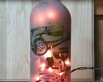 Hand ETCHED lighted wine bottle
