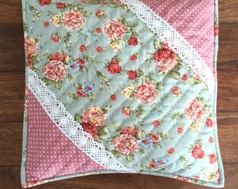 Floral chabby chic sea green cushion cover
